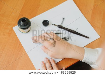 Paint Hand Writing Chinese Calligraphy