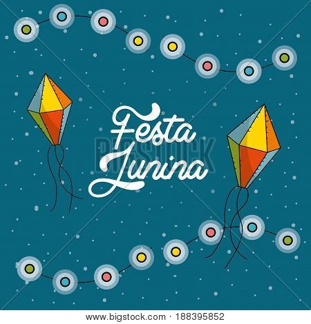 festa junina with chain bulbs and kites, vector illustration