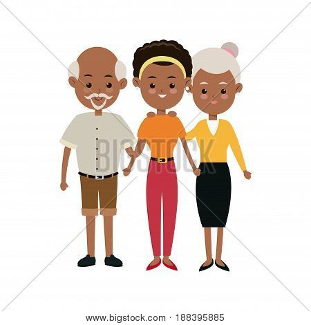 afro american family mother and grandparents hugging vector illustration
