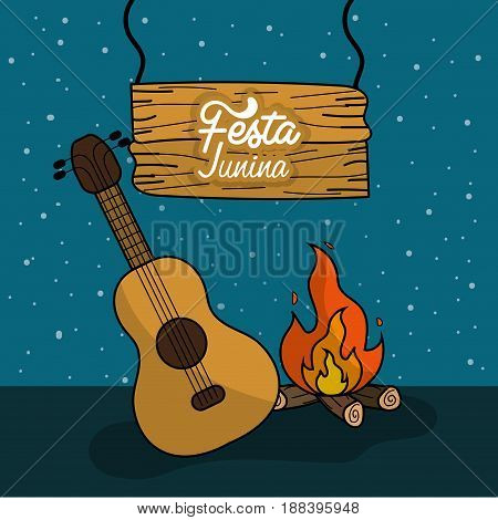 festa junina with wood fire and guitar, vector illustration