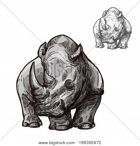 Rhino african animal isolated sketch. Black rhinoceros wild mammal animal with two horns illustration for safari travel tour, zoo symbol or wildlife themes design