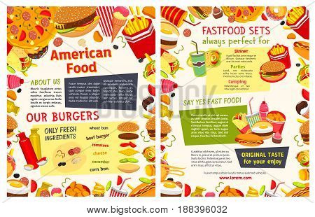 Fast food restaurant poster. Takeaway menu template of fast food dishes with burger ingredients and text layout, edged by hamburger, hot dog, pizza, donut, soda, french fries, cake, ice cream, burrito