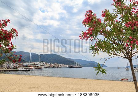 Marmaris city center and port from marmaris beach