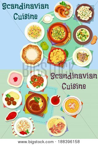 Scandinavian cuisine icon set. Meat and fish stew with vegetable, potato casserole, beef steak, meatball, fish dumpling, salmon, chicken and pea soup, fried herring, chicken, sweet pie, berry dessert