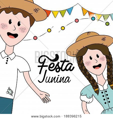 brazilian people celebrating festa junina with flags party, vector illustration