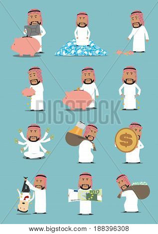 Arab businessman with money cartoon character set. Rich arabian man with dollar and euro currency, money bag, gold coin, piggy bank, oil tank, diamond and bankrupt with empty pockets. Finance concept