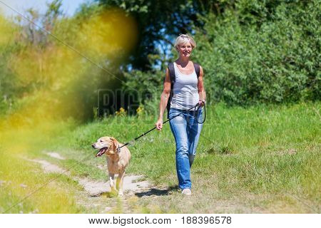 Mature Woman Hiking With A Dog