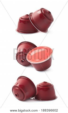 Coffee machine capsule isolated over the white background, set collection of three different foreshortenings
