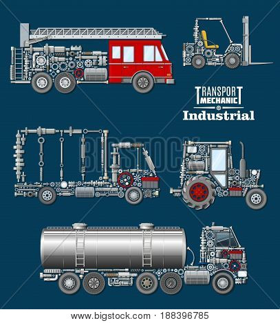 Industrial transport mechanics poster. Autotruck, fire truck, loader, tractor and tank track silhouette created from mechanical details, spare parts, engine components and wheel. Transportation design