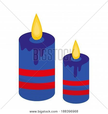 Blue candles icon, flat style. Isolated on white background. Vector illustration