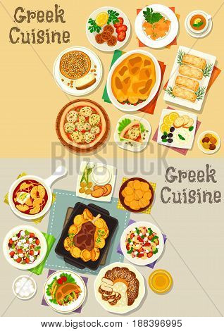 Greek cuisine icon set with vegetable meat casserole, pita bread, vegetable cheese salad, fried feta, egg and bacon pasta, meatball, yogurt sauce, vegetable pie, baked lamb, sweet bread, bun, donut