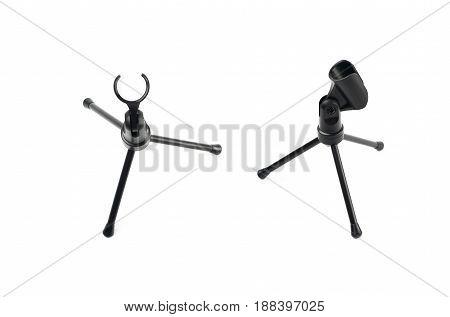 Black microphone short rack stand isolated over the white background, set of two different foreshortenings