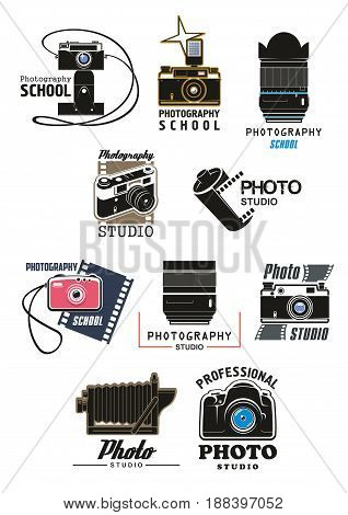 Photo studio and photography school symbol set. Retro photo camera, digital camera lens, camera flash and film roll isolated emblem for professional photography themes design