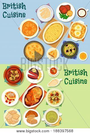 British cuisine meat dishes icon set with vegetable meat stew, potato lamb casserole, meat pie, roast beef, yorkshire pudding, lamb veggies soup, milk porridge, honey pie and scones with jam