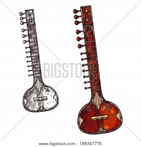 Indian musical instrument sitar isolated sketch. Veena or sarod indian classical music stringed instrument with old ornamental wooden body for ethnic music and arts themes design