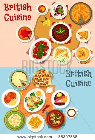 British cuisine popular dishes icon set. Sausage baked in bacon, vegetable meat stew, beef steak, egg, beer cheese soup, fish rice salad, fruit cake, meat pie, rice pudding, cucumber sandwich