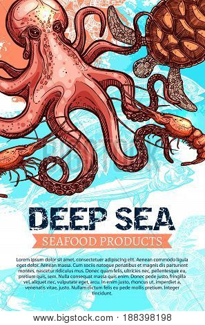 Seafood product and deep sea fishing banner. Ocean fish, shrimp, octopus and sea turtle sketches with ribbon banner and text layout below for fish market, seafood restaurant, fishing trip flyer design