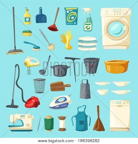 Household item and cleaning supplies icons. Mop and bucket, spray and sponge, brush and glove, broom and vacuum cleaner, pan, iron, apron, washing machine, dishwasher, tub, sewing machine, squeegee