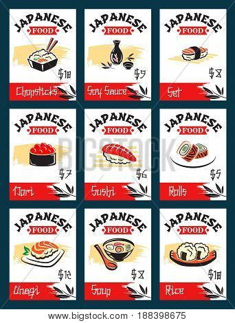 Japanese cuisine, asian food menu card. Sushi roll with rice, salmon and caviar, nigiri sushi with tuna and shrimp, seafood rice, noodle soup dishes for japanese seafood restaurant, sushi bar design