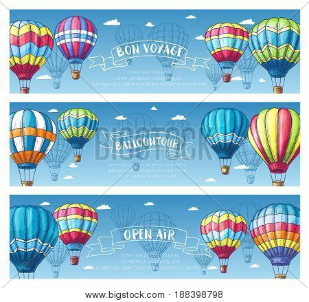 Hot air balloon sketch banner set. Air balloon floating across blue sky with white clouds vintage card, supplemented by ribbon banner with Balloon Tour, Bon Voyage text for travel, ballooning design