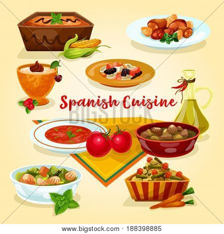 Spanish cuisine tasty dinner dishes cartoon icon. Meat vegetable stew with bean and liver, potato salad, tomato soup gazpacho, chicken with garlic sauce, rice pudding, corn cream dessert with fruit