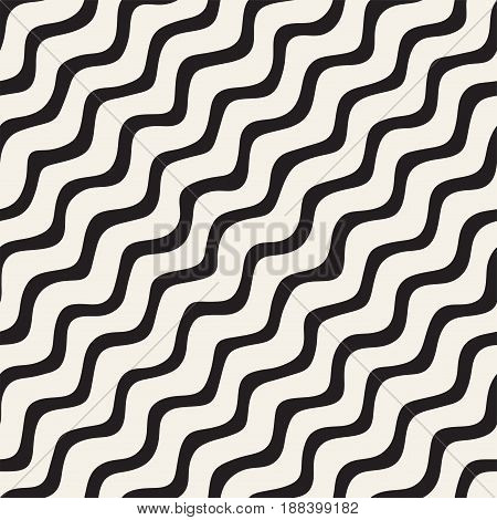 Seamless Pattern With Hand Drawn Waves. Abstract Background With Wavy Brush Strokes. Black And White