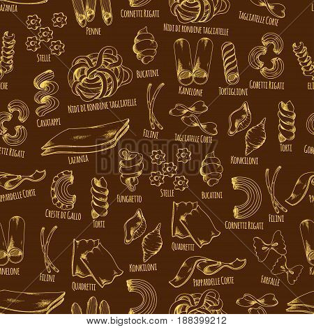 Pasta seamless pattern of italian macaroni. Pasta shapes sketch pattern of spaghetti, farfalle, penne, lasagna, kaneloni, filini and conchiglie. Italian cuisine menu background, food packaging design