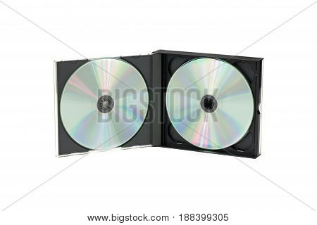 Double CD case on isolated background. Front view
