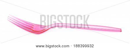 Single disposable plastic fork isolated over the white background
