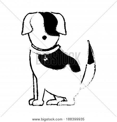 cartoon sitting dog with collar, pet family vector illustration.
