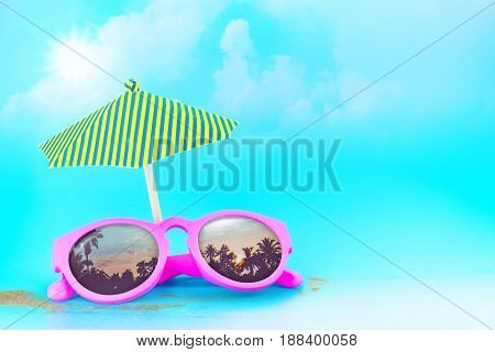 Pink Sunglasses reflection sunset at palm tree landscape scene with sand and sunSummer Time conceptLeave space for adding your content or text.