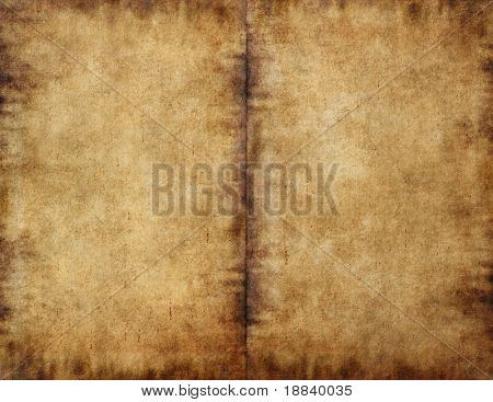 Unfolded old ancient book cover - smudged parchment paper texture background