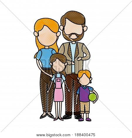 family portrait. mom and dad with childrens vector illustration