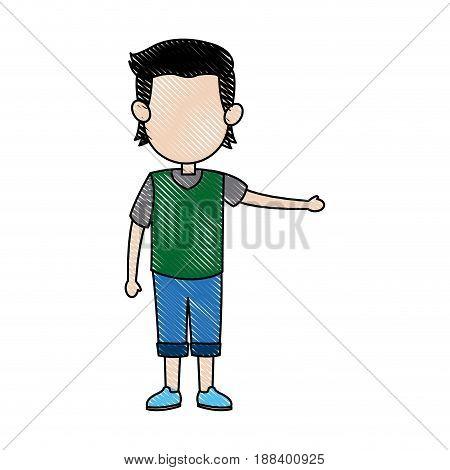 cartoon boy kid hand gesture image vector illustration