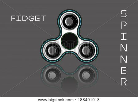 Fidget spinner icon - toy for stress relief and improvement of attention span. Filled white