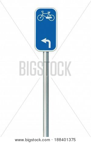Bicycle route number road sign large detailed isolated vertical closeup European Eurovelo cycle bike lane network cycling concept white left direction arrow blue painted metal marker metallic signpost pole post