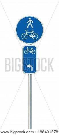 Bicycle route number cycling and pedestrian lane road sign large detailed isolated vertical closeup European Eurovelo cycle bike network concept white left direction arrow blue painted metal marker metallic signpost pole post
