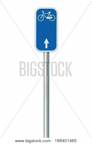 Bicycle route number road sign large detailed isolated vertical closeup European Eurovelo cycle bike lane network cycling concept white straight direction arrow blue painted metal marker metallic signpost pole post