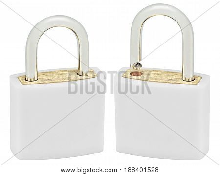 White Isolated Padlock Pair Macro Closeup Large Detailed Vertical Studio Shot Open Closed Lock Protection Security Concept Golden Brass Two Padlocks