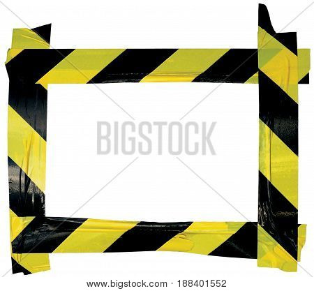 Yellow Black Caution Warning Tape Notice Sign Frame Horizontal Adhesive Sticker Background Diagonal Hazard Stripes Signal Safety Attention Concept Isolated Large Detailed Closeup Old Aged Weathered Grunge Pattern