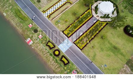 Aerial view of health park and running track healthy concept.