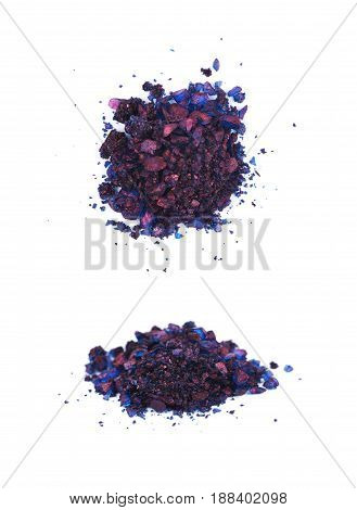 Pile of colored chemical salt crystals isolated over the white background, set of two different foreshortenings