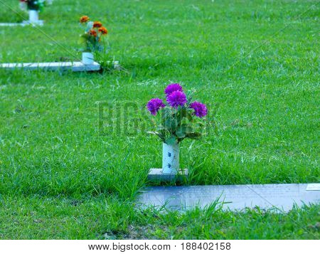 Graves and flowers. Graveyard. Tombs. Rest in peace