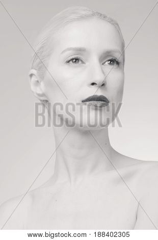 One Young Woman, Pale Skin, White Gray Hair, Retouch Portrait, Black And White Image