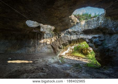 Historical ruins of housing in the Cave city Bakla in Bakhchysarai Raion, Crimea.