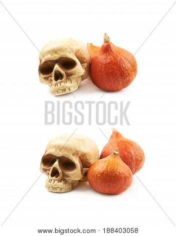 Orange pumpkin and a resin toy skull replica as a halloween composition, isolated over the white background, set of two different foreshortenings