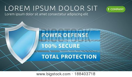 Security Data Protection. Web Technology Defense Banner. Antivirus Vector Illustration