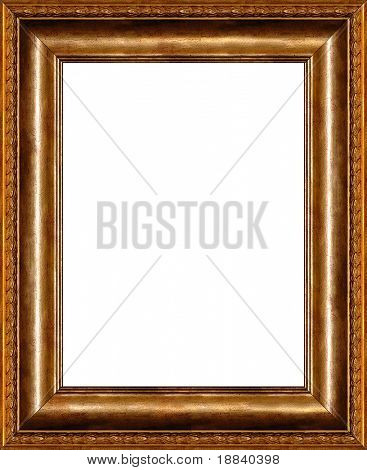 Antique wooden vertical photo frame with pattern