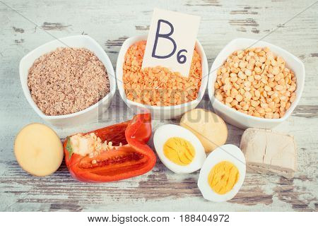 Vintage Photo, Ingredients Containing Vitamin B6 And Dietary Fiber, Healthy Nutrition Concept