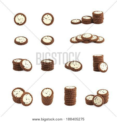 Set of multiple chocolate cookie images in different foreshortenings and compositions isolated the white background, set of multiple different foreshortenings